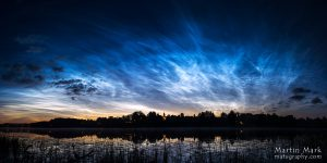 Võimsad helkivad ööpilved Rõuge Suurjärve kohal