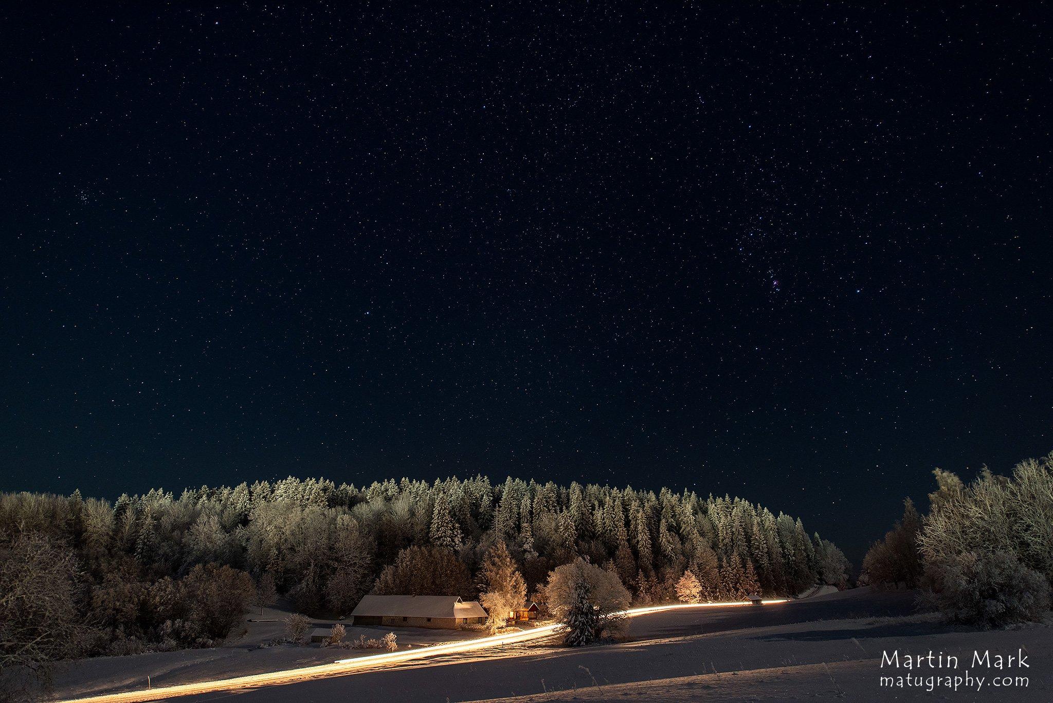 Baltimaade kõrgeim tipp Suur Munamägi talveöösel